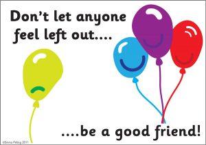 תמונה מצוירת של 3 בלונים יחד ואחד לבד וכתוב באנגלית שלהיות חבר זה לא להשאיר את אף אחד בחוץ