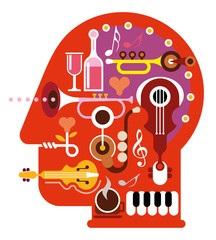תמונת ראש עשוי תפזורת כלי נגינה