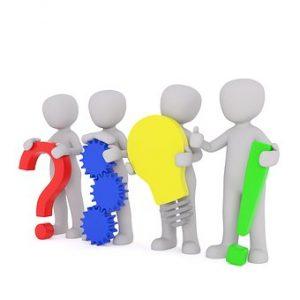 4 דמויות לבנות ללא זהות מחזיקות סימנים צבעוניים שונים